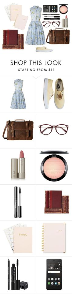 """Studying at the university"" by no-jimmy-protested69 ❤ liked on Polyvore featuring French Connection, Vans, Scully, Ilia, MAC Cosmetics, Sugar Paper, Rodial and Huawei"