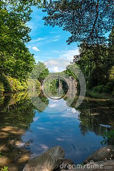 Stone bridge in Kromlau park. Germany. Europe.