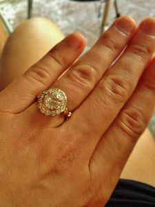 Engagement ring on finger image by Ethical Jewellery Australia Half