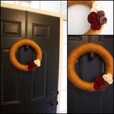 yarn & felt flower wreath for fall