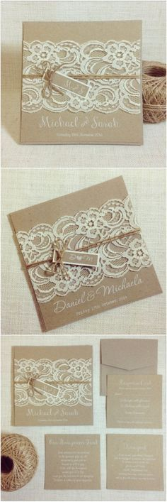 Rustic Vintage Lace Square Wedding Invitations / http://www.deerpearlflowers.com/rustic-wedding-invitations-from-etsy/