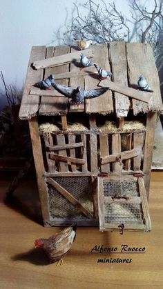 Miniature Crafts, Miniature Fairy Gardens, Miniature Houses, Miniature Dolls, Nativity House, Christmas Nativity, Miniture Animals, Miniture Things, Diy Popsicle Stick Crafts