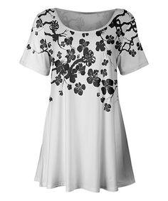 White & Gray Floral Tunic - Plus Too by Azalea #zulily #zulilyfinds