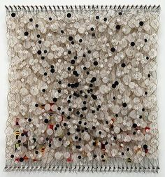 JACOB HASHIMOTO - On a Pitch Black Lake - Acrylic, paper, bamboo, nylon 76 x 71 x 8 inches, at Martha Otero