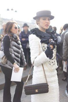 Paris Fashion Week street style.  [Photo by Kuba Dabrowski] Classic ladylike look in Chanel. Retro inspired street style.