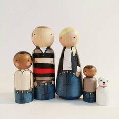 CUSTOM big peg family of 5 // personalized peg dolls by PegandPlum