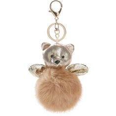SheIn(sheinside) Bear & Pom Keychain (1.335 HUF) ❤ liked on Polyvore featuring accessories, gold, gold key chain, fob key chain and pom pom key chain