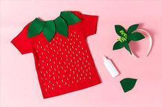 Create an Easy Halloween Costume Your Kids Will Love Strawberry Costume Diy Fruit Costume, Fruit Halloween Costumes, Easy Costumes, Easy Halloween, Kids Costumes Girls, Costumes For Women, Costume For Kids, Strawberry Halloween, Diy Strawberry Costume