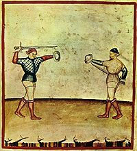 Sword and buckler combat, plate from the Tacuinum Sanitatis illustrated in Lombardy, ca. 1390.