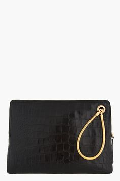 LANVIN Black leather and snake chain Croc-embossed iPad Case