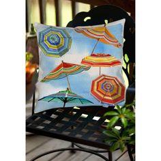 Thumbprintz Blue Skies Umbrellas Indoor/Outdoor Pillow, Multicolor