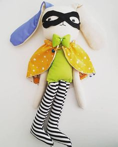 Super Hero Bunny doll plush toy handmade stuffed rabbit doll