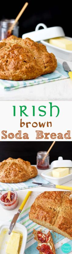 Irish Brown Soda Bread is the traditional Irish bread recipe. Flour, baking soda and salt are mixed with buttermilk and formed into a loaf. Yeast-free dough, 5-minute preparation & no kneading skills required make it a perfect bread for beginner bakers or busy families via @happyfoodstube
