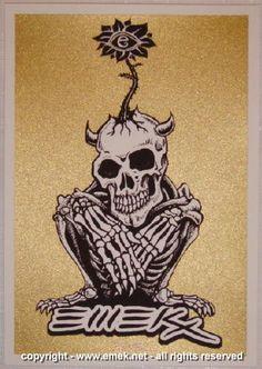 2005 Crouching Skeleton - Gold Silkscreen Handbill by Emek