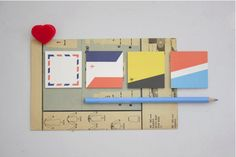 Gluememo Mini Quad 02 - Made in Korea Cute Stationery, Sticky Notes, Stocking Stuffers, Quad, Paper, Mini, How To Make, Airmail, Korea