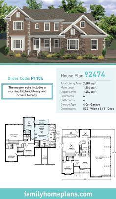Tudor House Plan 92474 | Total Living Area: 2,698 SQ FT, 4 bedrooms and 4 bathrooms. The master suite includes a morning kitchen, library and private balcony. #tudorhome