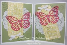 Sweet Butterfly Basics Doily Cards CASEd from Julie Davison. stampin up, cards, butterfly basics, butterfly, scallop tag topper punch, doily  Details at www.toocoolstamping.com