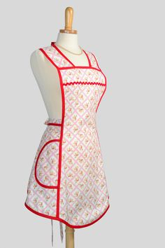 Vintage Inspired Apron , Handmade Kitchen Apron Red Floral Diagonal Plaid  Fresh Palette Henry Glass Collection