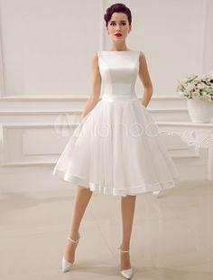 Backless A-line Wedding Dress #shortweddingdresses