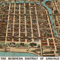 "Gorgeous #Chicago #map: ""Birdseye of the business district of Chicago"" (1898) $27.35"