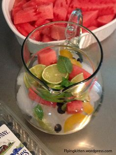 Energy Booster.  Spa Water - Water, Lime, Watermelon, and Mint.