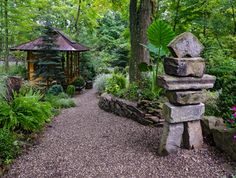 Stacked stones also called cairns are natural man made sculptures. Place them in your garden for an easy and inexpensive statue.