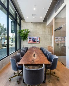 Live edge claro walnut conference room table for Downtown San Diego Live edge claro waln Corporate Office Design, Corporate Offices, Conference Room Design, Conference Room Chairs, Conference Table, Office Interior Design, Office Interiors, Interior Ideas, Modern Architecture House