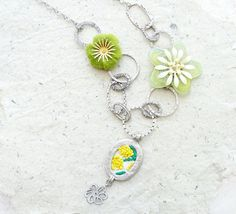 Green at Heart Necklace - Vintage Embroidery, Felt, Enamel, Glass and Silver plated metal on Etsy, $68.00