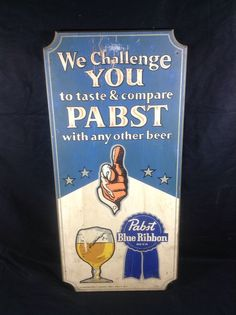 Pabst Blue Ribbon Beer Wood Sign PBR Milwaukee WI #cjbeez #beer #breweriana #mancave #bar #pub #pabst #pabstblueribbon #pbr