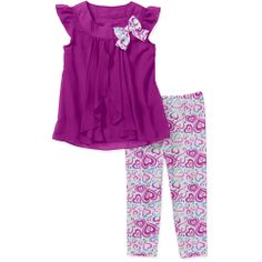 Uber cute :-) Like this color & the top/pants combo :-) If I ever have a girl lol - Healthtex Baby Girls' 2 Piece Draped Front Chiffon Tunic and Pant Set : Walmart.com