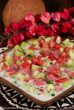 Samoan fish salad is called oka i'a. It is like a ceviche wih coconut milk. An easy and delicious recipe you will make again and again. Fijian Food, Samoan Food, Pumpkin Crisp, Polynesian Food, Fish Salad, Island Food, Fijian Recipes, Samoan Recipes, Ceviche
