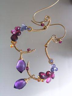 Amethyst Gold Filled Sculptural Earrings, Tanzanite Curl Dangles, Twilight, Pink Sapphire, Tourmaline, Signature Original, Made to Order