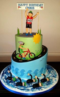 Triathlete 40th Birthday Cake
