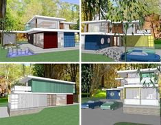 Container home with concrete and glass