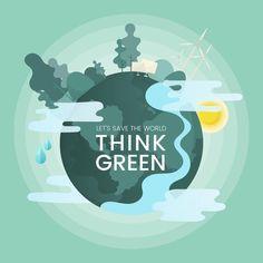 Think green environmental conservation vector Vector ,Ecological illustration,生态,环保 Save Environment, World Environment Day, Environmental Posters, Environmental Issues, World Earth Day, Planet Earth, Earth Poster, Save Our Earth, Marine Conservation