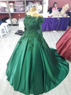 3D Lace Flower Long Sleeves Satin Ballgowns Prom Dresses Off The Shoul – Princesssbride