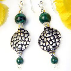 Green Malachite Earrings Bali Style Disk Beads Sterling Hooks Handmade | PrettyGonzo - Jewelry on ArtFire