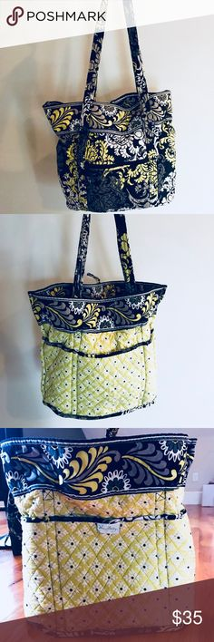 Vera Bradley Reversible Tote Bag Green, black, yellow and white paisley Vera Bradley tote bag. Spacious with lots of pockets. Clean and in great condition! Vera Bradley Bags Shoulder Bags