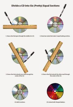 Divide a CD into 6 Sections - ART PROJECTS FOR KIDS