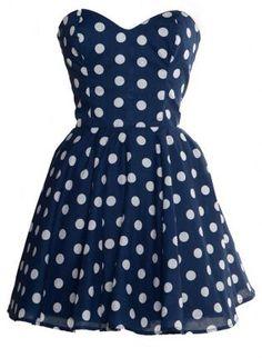 Pin-Up Blue Polka Dot Prom Party Dress,  Dress, navy blue polk dot retro 50s, Casual