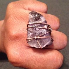 Chevron Amethyst Copper wire wrapped Ring by Rework