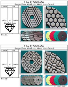 4 Step Dry Polishing Pad  ~ Premium & PG for Premium Gold Engineered Stone, Granite, Korea, Stones, Marble, Rocks, Stone, Marbles