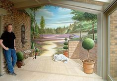 No this is not a porch, it's a painted wall.  from: http://www.vanhoef.com/nederlands/trompeloeil3.html