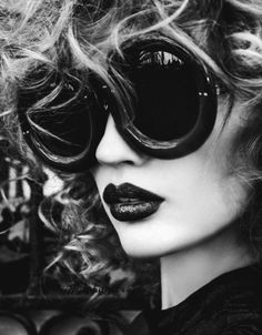 Shades and black lipstick