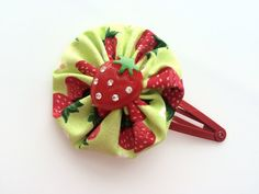 Red Strawberry Hair Clip Barrette for Girls  by CuteAsaButtonbyAmy