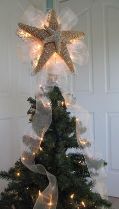 Lighted Christmas Tree Star Starfish Tree Topper via Etsy #lillyholiday - like the double starfish & the bling but skip the ribbon