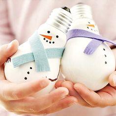 Pupazzi di neve natalizi con lampadine usate n.6