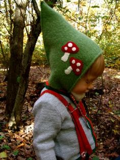 How to Make a Gnome Hat For a Young Child (use felt or upcycled sweater!): You need very basic sewing skills to make this hat. Without the options, it has only one seam and is an excellent beginner's project. (see it in a recycled sweater knit, too!}