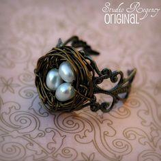 Birds Nest Ring - Adjustable Ring - Genuine Pearl Ring - Victorian Era Jewelry