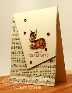 handmade Christmas card from Creativity Within ... mod layout design ... vintage elements ... aged sheet music background ... deer fussy cut from patterned paper ... Stampin' Up!
